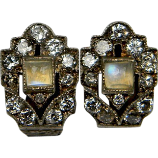 Moonstone and Diamond Art Deco Clip earrings (1111)