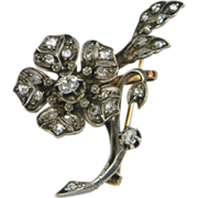 French Diamond Flower Spray Brooch