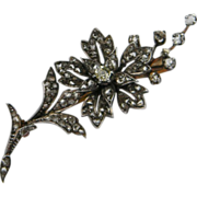 Diamond Flower Spray Brooch Pin
