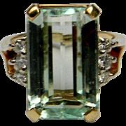 Bright , Green Kunzite and Diamond Ring