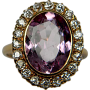 Edwardian Pink Topaz and Diamond Cluster Ring