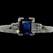Square Sapphire Baguette Diamond and Platinum Ring