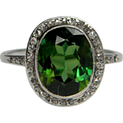 Art Deco Green Tourmaline & Diamond Ring