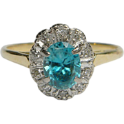 Bright Blue Zircon & Diamond Ring