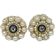 Regency Diamond, Enamel and Pearl Earrings
