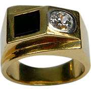 French 1930's Diamond and Onyx Ring