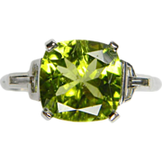 Peridot and Baguette Diamond Ring