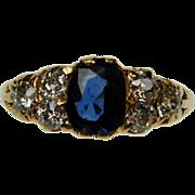 Sapphire & Diamond Carved Half Hoop Ring
