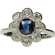 Old Cut Sapphire & Diamond Cluster Ring