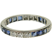 Art Deco Sapphire and Diamond Full Hoop Eternity Ring