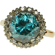 Bright Blue Zircon and Diamond Ring