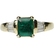 Emerald and Baguette Diamond Ring