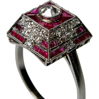 Fine Art Deco Egyptian Revival Ruby and Diamond Ring