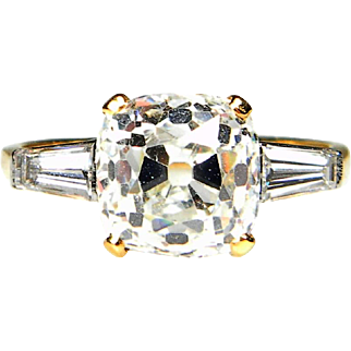 3.76ct E Colour SI1 Clarity Cushion Cut Diamond Ring
