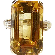 Bright Citrine Solitaire Ring