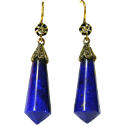 Antique Lapis Lazuli and Diamond Earrings