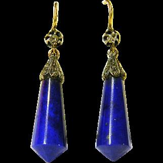 Antique Lapis Lazuli and Diamond Earrings