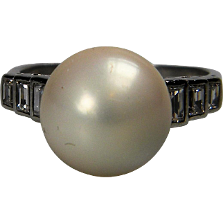 Natural River Pearl and Baguette Diamond Ring