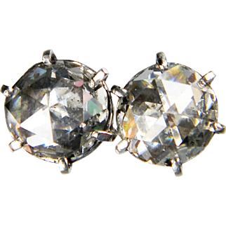 3ct Antique Victorian Rose Cut Diamond Earrings