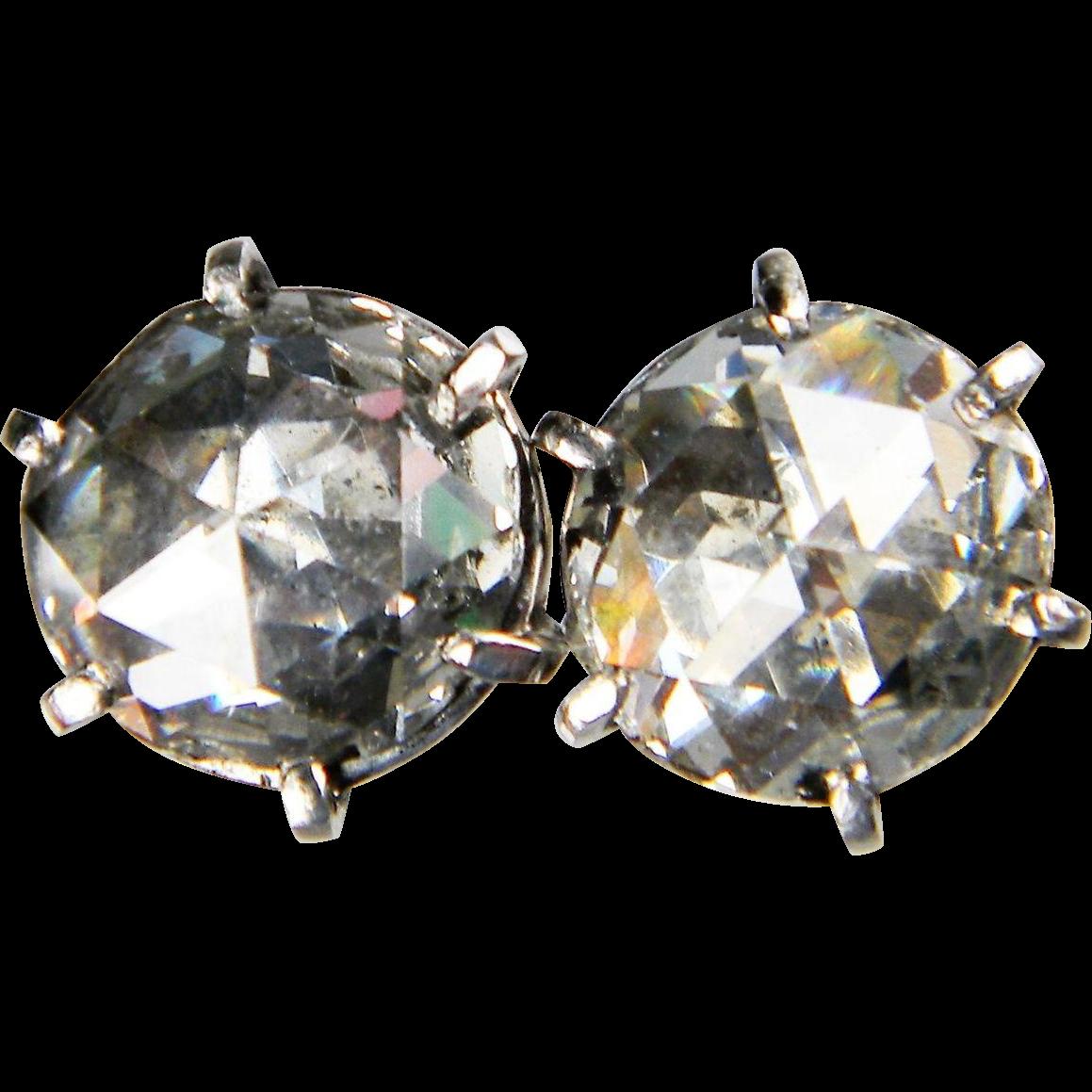 3ct Antique Victorian Rose Cut Diamond Earrings