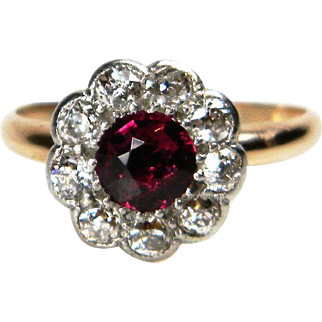 Antique Siam Ruby and Diamond Cluster Ring
