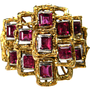 Cool 1960's Ruby Architectual Ring
