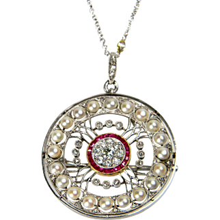 Edwardian Ruby, Diamond and Pearl Necklace