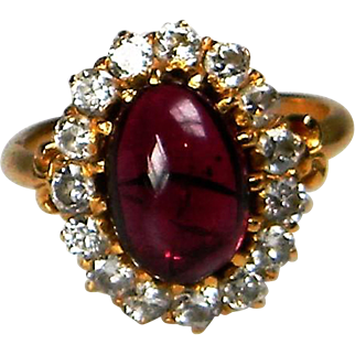 Cabochon Rhodalite and Diamond Cluster Ring
