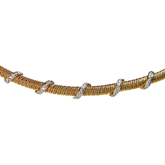 1970's 18ct Gold and Diamond Necklace