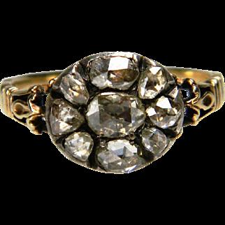 Rose Diamond Button Cluster Ring circa 1760