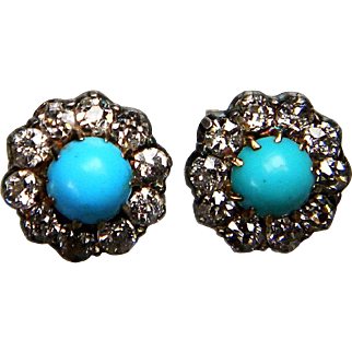 Forget me not Antique Turquoise and Diamond Cluster Earrings