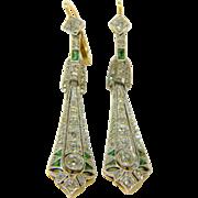 Edwardian Emerald and Diamond Drop Earrings