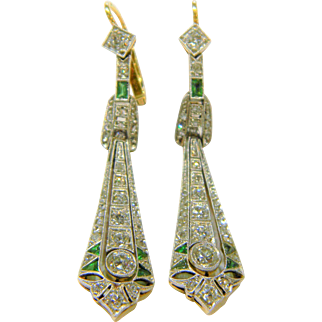 Edwardian Emerald and Diamond Drop Earrings