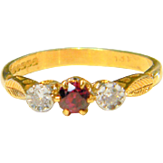Vintage Ruby and Diamond Three Stone Ring