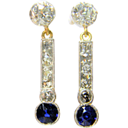 Edwardian Sapphire and Diamond Drop Earrings