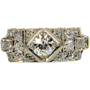 Art Deco Diamond Geometric Ring