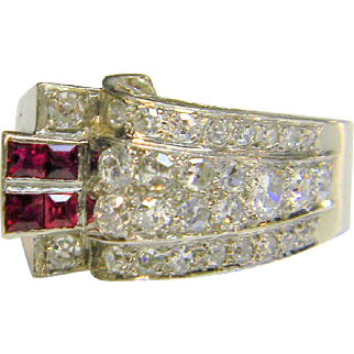 Art Deco Ruby and Diamond Architectural Ring