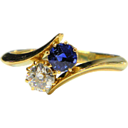 Victorian Sapphire and Diamond Cross Over Ring