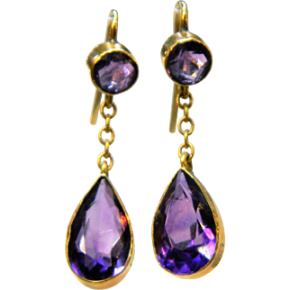 Edwardian Amethyst Top and Drop Earrings