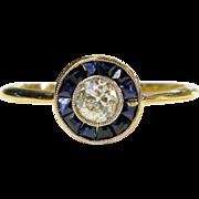 Art Deco Sapphire and Diamond Halo Ring