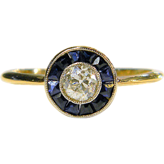 Art Deco Sapphire and Diamond Halo Ring