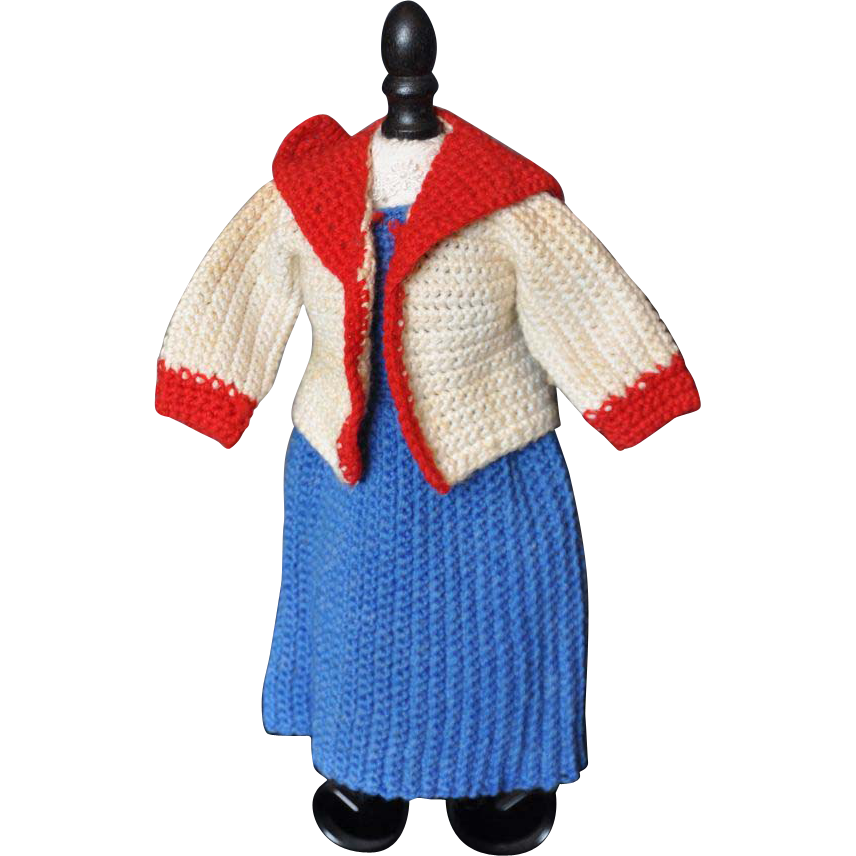 Vintage knit sailor outfit for doll from terristreasures ...