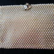 Classic, Beautiful KORET TRESOR White Satin Rhinestone Clutch Evening Bag
