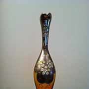 Beautiful Murano Glass Carafe with Hand Painted Flowers - Signed