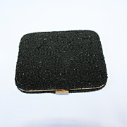 Beautiful 1950's Black, Hand Beaded Powder Compact.