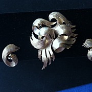 Crown Trifari Swirl Brooch and Earrings