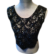 Black and Aurora Borealis Shell with Hand Sewn Sequins and Beads