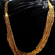 Trifari 7 Strand 30 inch Gold Tone Chain Necklace - Signed