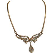 Trifari Gold Tone Drop Pendant Choker Necklace circa 1940 to 1954