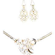 Crown Trifari Pat. Pend Rhinestone and Gold Tone Necklace and Pierced Earrings